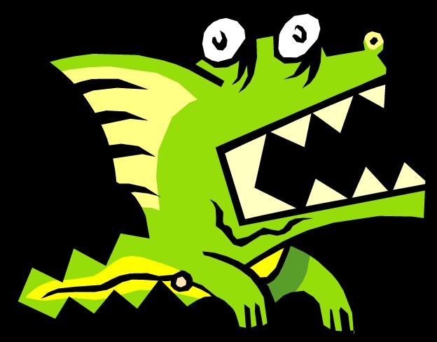 cartoon of little green dragon