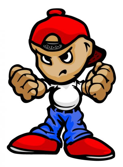 Cartoon of bullying boy with balled fists and angry face